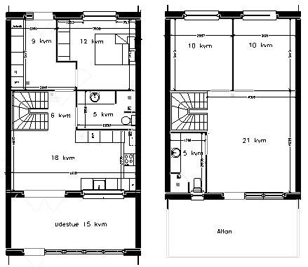 Et plans rækkehus til salg